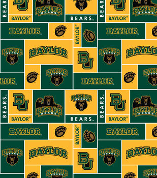 Baylor NCAA Block Fleece Fabric