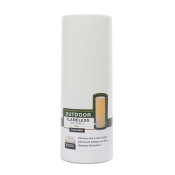 Hudson 43™ Candle&Light Collection 3 X 8 Outdoor Plastic Pillar - White