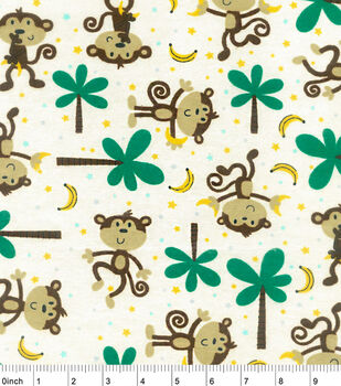 Snuggle Flannel Fabric-Monkeys And Bananas