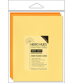 "Hero Arts 5-1/2""x4-1/4"" Folded Cards-12PK/Sunshine Mix"