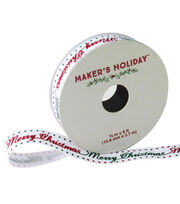 Maker's Holiday Ribbon 5/8''x9'-Red & Green Merry Christmas, , hi-res