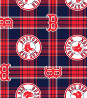 Boston Red Sox MLB Plaid Fleece Fabric, , hi-res