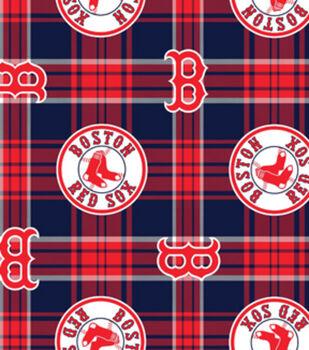 Boston Red Sox MLB Plaid Fleece Fabric