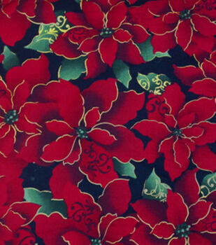 Holiday Inspirations Christmas Fabric-Scrolly Poinsettias Metallic