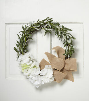 Blooming Spring Hydrangea, Olive Leaves & Ribbon Twig Wreath