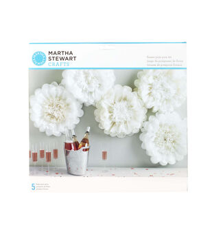 Martha Stewart Tissue Paper Pom-Pom Kit White Flower