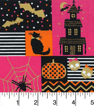 Halloween Cotton Fabric-Halloween Blocks Pink And Orange