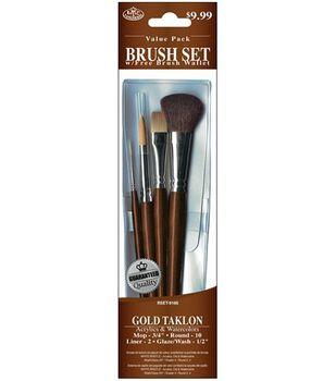 Value Pack Brush Sets-Gold Taklon Set W/ Mop