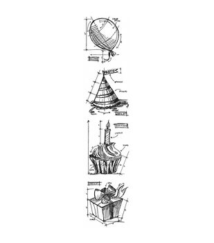 Stampers Anonymous Mini Birthday Blueprints Strip Cling Stamps