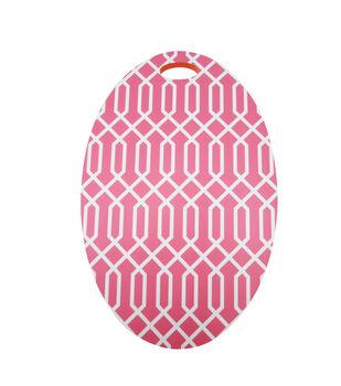 In The Garden Oval Kneeler-Pink Geometric Print