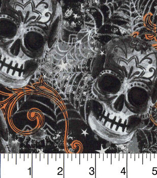 Halloween Cotton Fabric-Bursting Skulls On Black