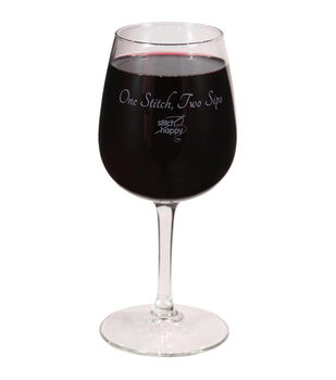 K1C2 Stitch Happy Wine Glass In Box 12 oz-One Stitch, Two Sips