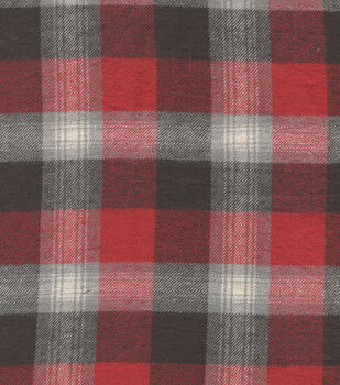 Flannel Shirting Cotton Red Black Gray