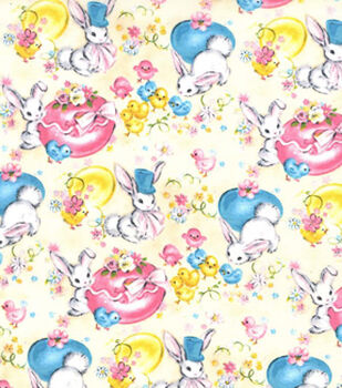Easter Print Fabric-Vintage Hide N Seek Tan