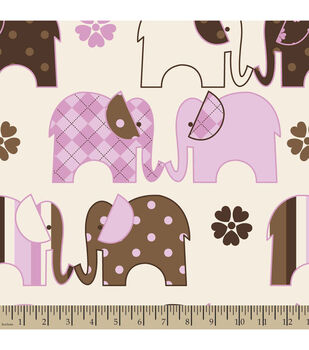 Nursery Fleece Fabric-Elephant Line Pink