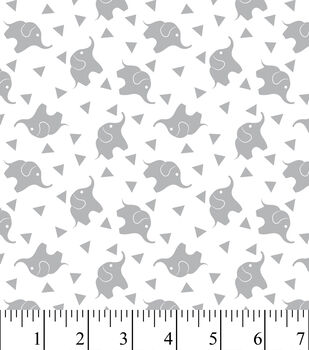 Nursery Fabric - Elephant Confetti Gray Flannel