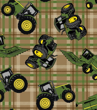 John Deere Tractors On Plaid Cotton Fabric
