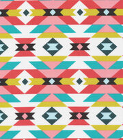 Cloud 9 Organic Cotton Fabric-Aztec Red/Blue, , hi-res