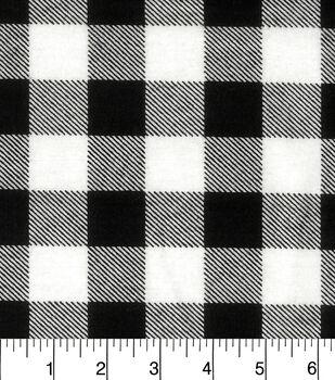Snuggle Flannel Fabric-Black White Buffalo Check