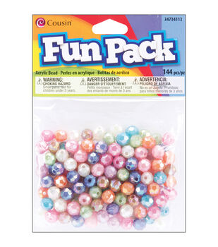 Fun Pack Pony Beads 144/Pkg-Assorted Pastel