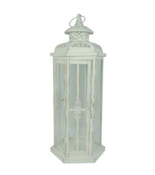 Hudson 43™ Candle & Light Collection Distressed Metal Lantern White Lg