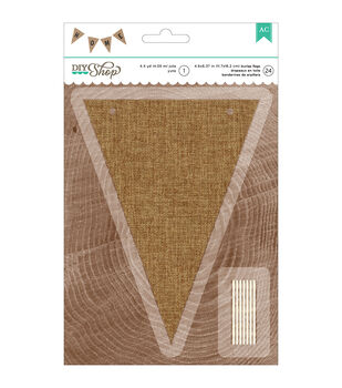 American Crafts DIY Shop 2 Natural Burlap Pennant Jute String Banner