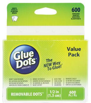 "Glue Dots 1/2"" Dots School Value Pack-600PK/Removable"