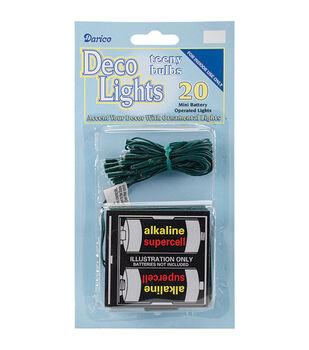 Darice® 20pcs Deco Light Teeny Clear Bulbs With Green Cord