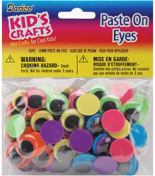 Darice Paste On Eyes 15mm 80/Pkg Black on Neon