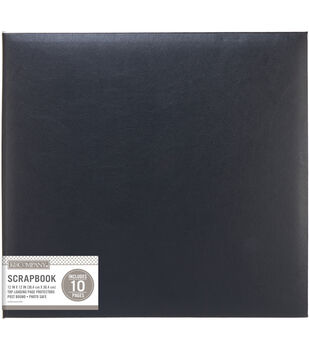 "K&Company Black Faux Leather 12""x12"" Basic Scrapbook"