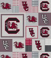 University of South Carolina NCAA Gray Block Fleece Fabric, , hi-res