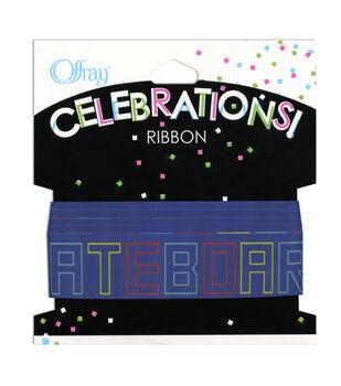 "Offray Celebrations Ribbon 7/8"" x 9'- Skateboarding"