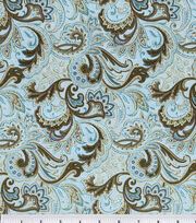 Keepsake Calico™ Cotton Fabric-Paisley Aqua&Brown, , hi-res
