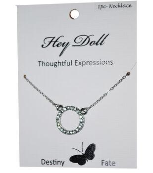 Hey Doll Silver Karma Rhinestone Circle Necklace
