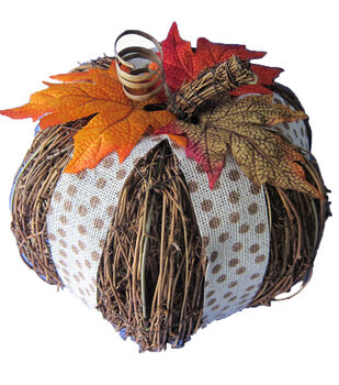 Pumpkin Boutique Large Rattan Pumpkin With Dot Ribbon