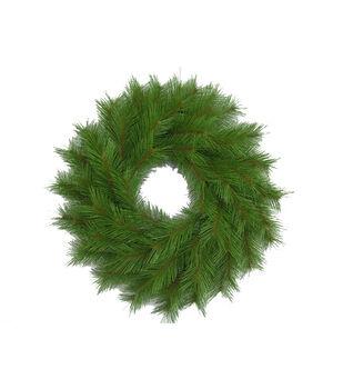 Holiday Cheer Long Needle Wreath Green 24in