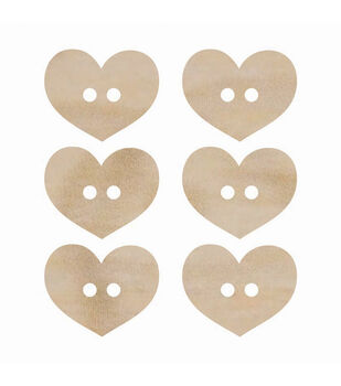 Wood Flourishes-Heart Buttons 6/Pkg