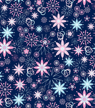 Easy Wash&Care Fabric-Geo Snowflakes Blue and Pink