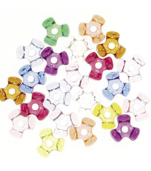 Transparent Tri-Beads, Assorted Colors, 11mm size