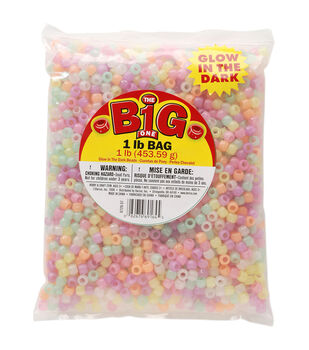 Darice Asst Glow Pony Beads 9mm 1Lb