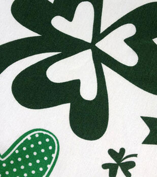 St. Pat's Print Fabric-Tossed Shamrocks Wide Green