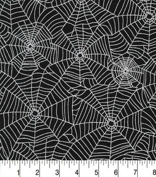 Halloween Cotton Fabric-Sparkle Webs Black Met