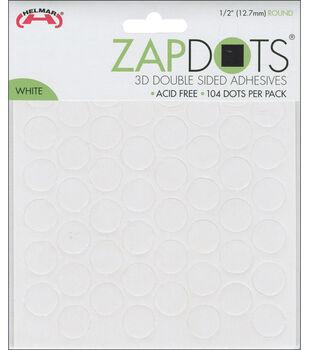 "Zapdots 3D 1/2"" Adhesive Rounds-White, 104/Pk"