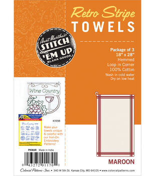 "Stitch 'Em Up Retro Stripe Towels 18""X28"" 3/Pkg"