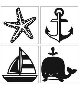 Iron-On Transfer Nautical Theme-Black 4pc.