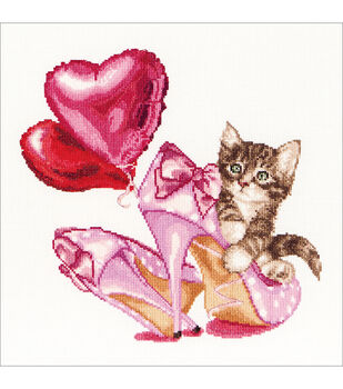 Thea Gouverneur Valentine's Kitten On Aida Counted Cross Stitch Kit
