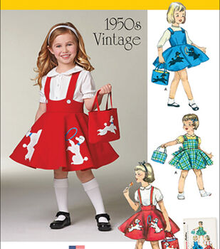 1950s Sewing Patterns- Dresses, Skirts, Tops, Pants Simplicity 1950s Girls Toddler dress Skirt Poodle Jumper  AT vintagedancer.com