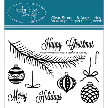 Technique Tuesday Clear Stamps Holiday Ornaments
