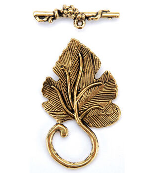 Gold Plated Metal Clasps-Detailed Leaf 5/Pkg