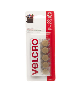 VELCRO® Brand  Sticky Back 5/8in Coins beige. 15 sets.